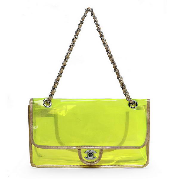 7A Replica Chanel Pellucidly PVC Flap Bags A1117 Green